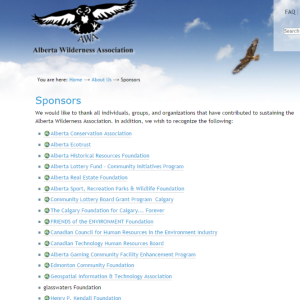 Screenshot of List of Sponsors from AWA website (1/2) as it appeared in July 2014