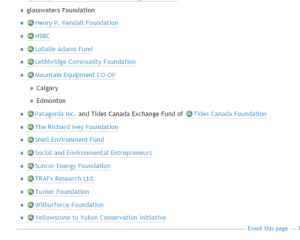 Screenshot 2 of AWA Sponsors as it appeared of July 2014 on their website
