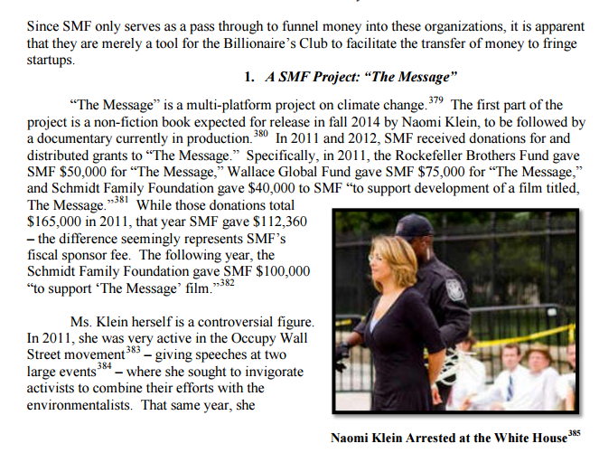 naomi klein funded by billionaires club